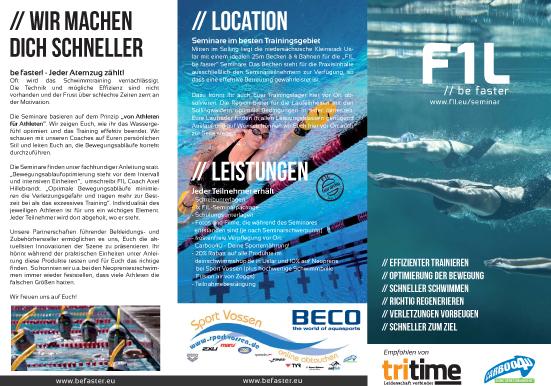 Vormerken! F1L - be faster! - Schwimmseminar