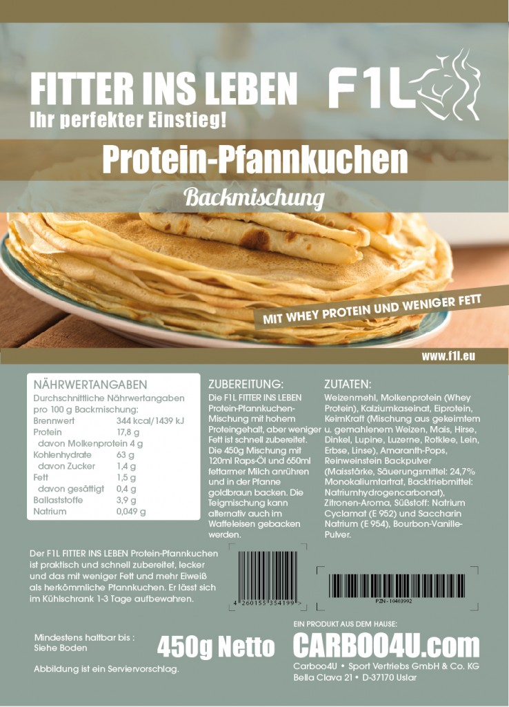 FITTER INS LEBEN Protein-Pfannkuchen-Mischung mit Whey-Protein und weniger Fett